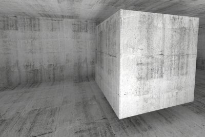 Fototapeta Abstrakt bílá beton pokoj 3d pozadí s kostkou