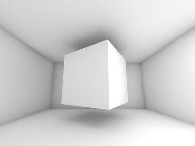 Fototapeta Abstrakt bílý interiér pokoje, létání kostka