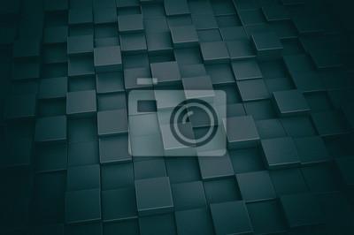 Fototapeta Abstrakt černá metalíza 3d kostky pozadí