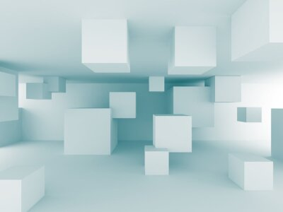 Fototapeta Abstrakt Chaotické kostky výstavbě výprava pozadí