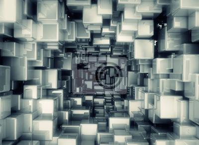 Fototapeta Abstrakt kovové 3d kostky
