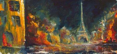 Fototapeta Abstrakt noc pařížské. Původní olej staré město na canvas.Modern