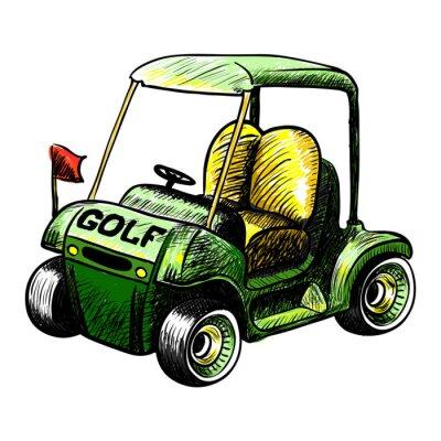 Fototapeta Abstrakt ojedinělých vektoru golfový vozík. Barva čáry vektoru skica