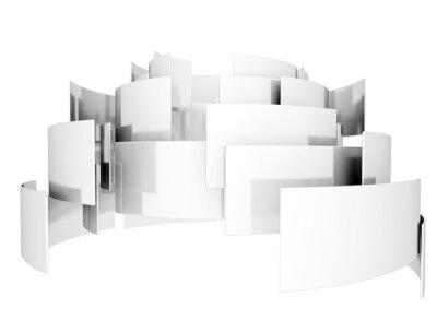 Abstraktní 3d kovové čtverce izolovaných na bílém pozadí