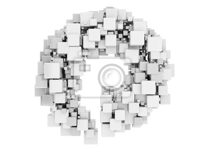 Fototapeta Abstraktní 3d kruh z bílých kostek, samostatný