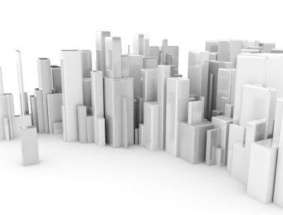 Abstraktní 3d městský model z kostek