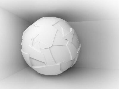 Fototapeta Abstraktní 3d pozadí s bílým velkým létající koule