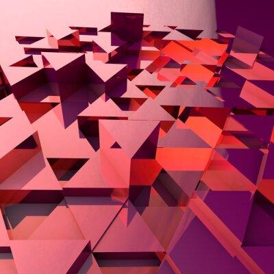 Fototapeta Abstraktní 3d pozadí s červenými polygonální trojúhelníky.