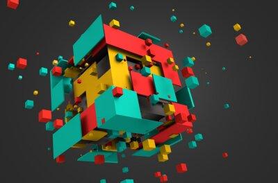 Fototapeta Abstraktní 3D vykreslování létajících kostky.