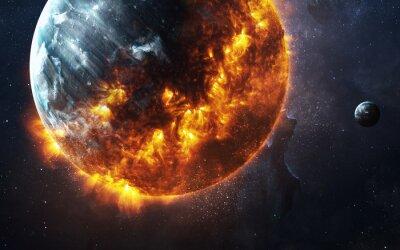 Fototapeta Abstraktní apokalyptické pozadí - hořící a vybuchující planetu. Tyto obrazové prvky poskytované NASA