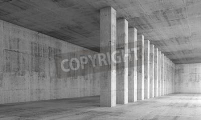 Fototapeta Abstraktní architektura pozadí, prázdné interiér s betonovými zdmi a sloupy v řadě, 3d ilustrace s perspektivou účinkem