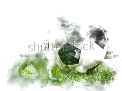 Fototapeta Abstraktní barevné fotbal na zelené trávě na akvarel ilustrační malba pozadí.