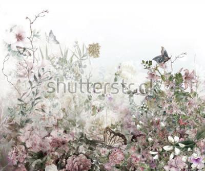 Fototapeta Abstraktní barevné květy akvarel malování. Jaro vícebarevné v přírodě