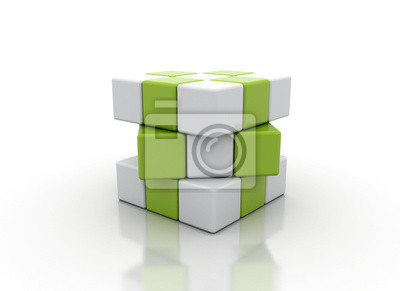 Fototapeta Abstraktní bílá a zelená kostky na bílé