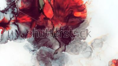 Fototapeta Abstraktní červené pozadí. Makro buňky. Červená květina. Akrylové barvy. Mramorová struktura. Soudobé umění.