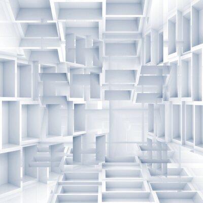 Fototapeta Abstraktní digitální 3d pozadí s chaotickým bílými kostkami