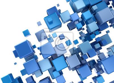 Abstraktní digitální modré 3d kostky