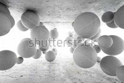 Fototapeta Abstraktní geometrické pozadí betonových míčků. 3D ilustrace.