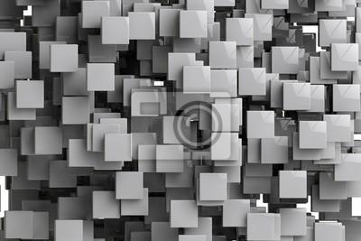 Fototapeta Abstraktní geometrické pozadí kostky 3d render