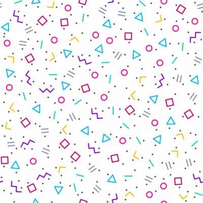 Fototapeta Abstraktní geometrické pozadí, Memphis stylu, jasné neonové barvy, bezešvé vektoru vzor
