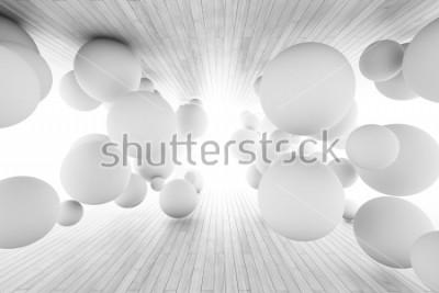 Fototapeta Abstraktní geometrické pozadí s míčky v tunelu desek. 3D ilustrace.