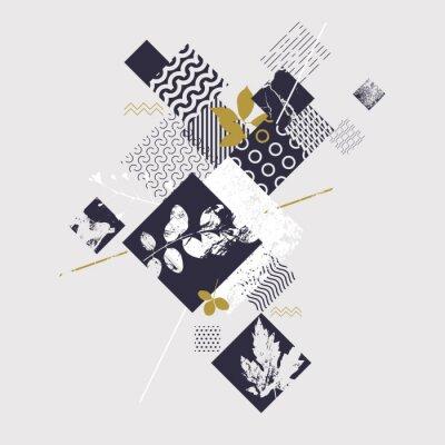 Fototapeta Abstraktní geometrické složení s botanickými prvky