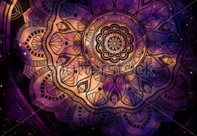 Fototapeta Abstraktní hvězda geometrické s hvězdou pole a barevné pozadí galaxie, akvarel digitální umělecké malování a mandala grafický design