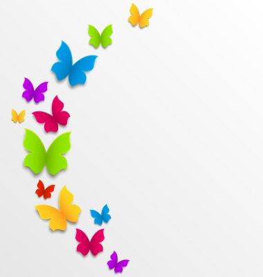 Fototapeta Abstraktní jarní pozadí s duhou motýly