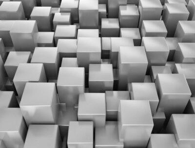 Fototapeta Abstraktní kovové 3d kostky na pozadí