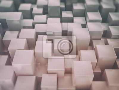 Fototapeta Abstraktní kovové 3d kostky pozadí