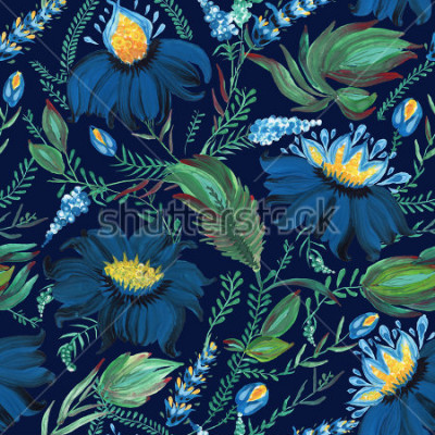 Fototapeta Abstraktní květinové bezešvé vzorek v ukrajinské lidové malbě stylu Petrykivka. Ručně kreslené fantasy květiny, listy, větve na tmavém indigo modrém pozadí.Batik, vyplnění stránky, obal alba, textilní