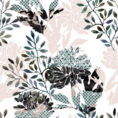 Fototapeta Abstraktní květinový vzor bezešvé. Akvarelové květiny, listy plné minimálních textur. Přírodní pozadí. Ručně malované podzimní ilustrace pro textilní, textilní, obalový design