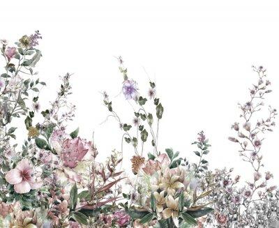 Fototapeta Abstraktní květiny akvarelu. Jarní květiny vícebarevný