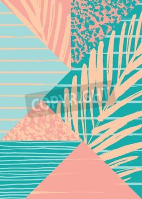 Fototapeta Abstraktní letní kompozice s rukou vyvodit ročník texturu a geometrické prvky. Vektorové šablony pro plakát, kryt, design karty a ostatním uživatelům.