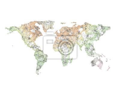 Fototapeta Abstraktní mnohoúhelník 3d vykreslení mapa světa izolovaných na bílém pozadí
