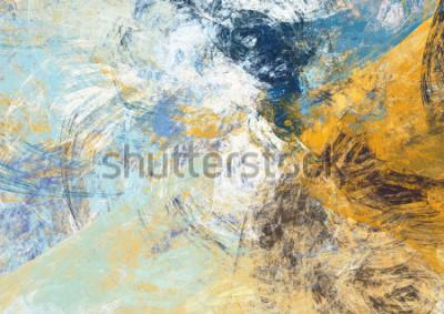 Fototapeta Abstraktní modré a žluté měkké barevné pozadí. Dynamická struktura Malby. Moderní futuristický vzor. Fraktální umělecká díla pro tvůrčí grafický design