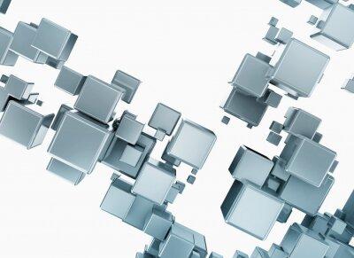 Fototapeta Abstraktní modré kostky 3d digitální ilustrace