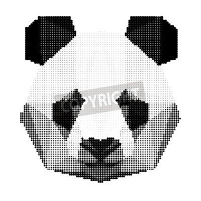 Fototapeta abstraktní monochromatické panda medvěd portrét na bílém pozadí pro použití v designu pro karty, pozvání, plakát, poutač, plakát, billboard krycí