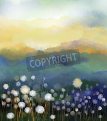 Fototapeta Abstraktní olejomalba bílé květy pole v měkké barvy. Olejomalby bílé pampelišky na loukách. Jaro květinové sezónní charakter s modrým - zelené kopce v pozadí.