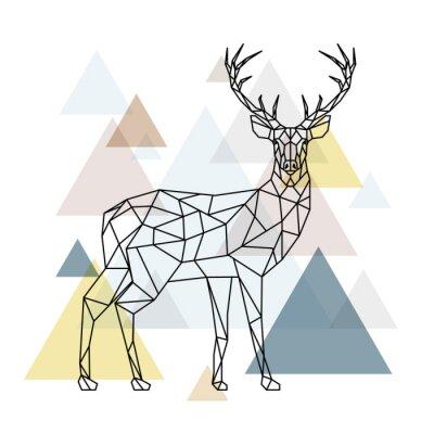 Fototapeta Abstraktní polygonální jelen. Geometrické ilustrace hipster. Soby s bočním pohledem. Skandinávský styl.