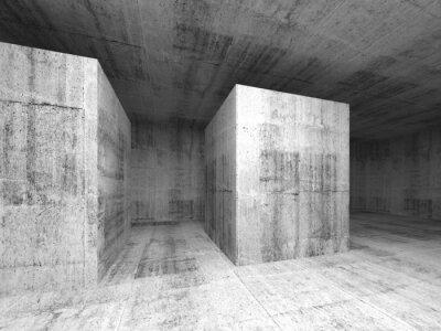 Fototapeta Abstraktní tmavě šedá prázdná betonová místnost, 3d interiér