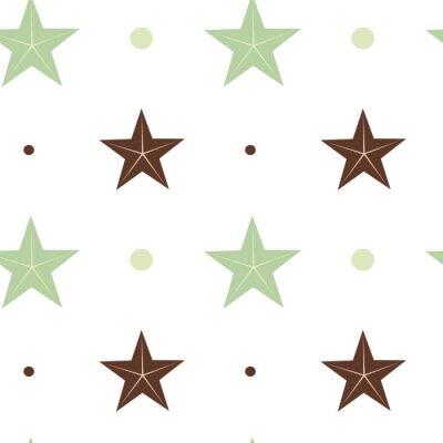 Fototapeta abstraktní zelené a hnědé hvězdy bezešvé vektoru vzor pozadí obrázku ve skandinávských barvách