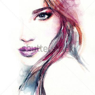 Fototapeta Abstraktní žena tvář. Módní ilustrace. Akvarel maluje