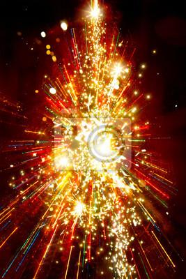 Abstraktní zlaté vánoční strom na pozadí červené světlo