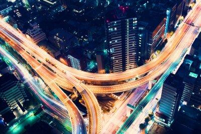 Fototapeta Aerial-view highway junction at night in Tokyo, Japan
