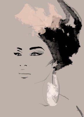 Fototapeta African American illustration for fashion banner. Trendy woman model background. Afro hair style girl
