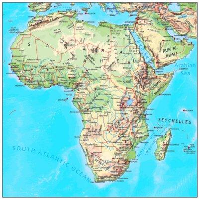 Fototapeta Afrika fyzikální kontinent mapa
