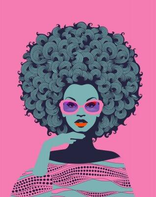 Fototapeta Afro American woman art portrait with pink sunglasses. Mid century modern retro style. Eps10 vector