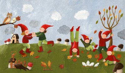Fototapeta Akryl ilustrace roztomilé děti - trpaslíci tančí ve fa