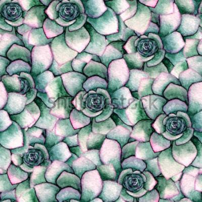 Fototapeta Akvarel bezproblémové botanické vzorek s sukulenty